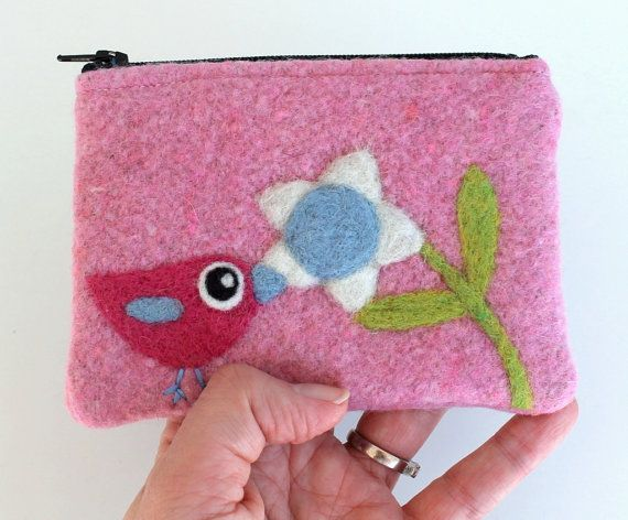 Zippered coin purse pouch purse pin wool fabric by HandmadebyMia