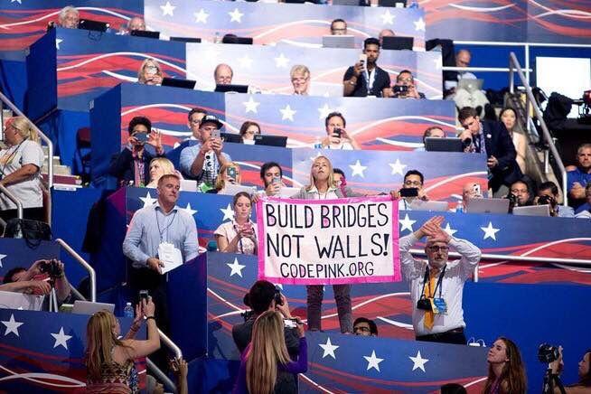 Medea Benjamin disrupted Trump's acceptance speech at the 2016 RNC.