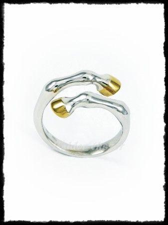 Arany patás ezüst lóláb gyűrű