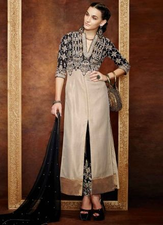 Feminine Black And Grey Banarasi Silk Designer Pakistani Suit