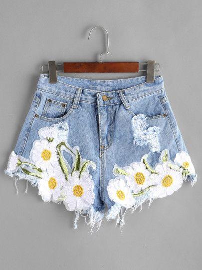 Shorts rotos con aplicaciones en denim - azul claro -Spanish SheIn(Sheinside) Sitio Móvil