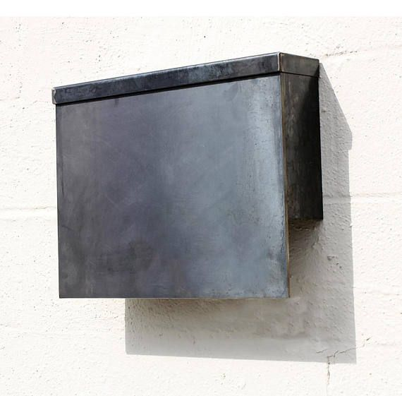The Gibson Mailbox Steel Modern Metal Letter Box Etsy Post Box Wall Mounted Metal Letters Mounted Mailbox