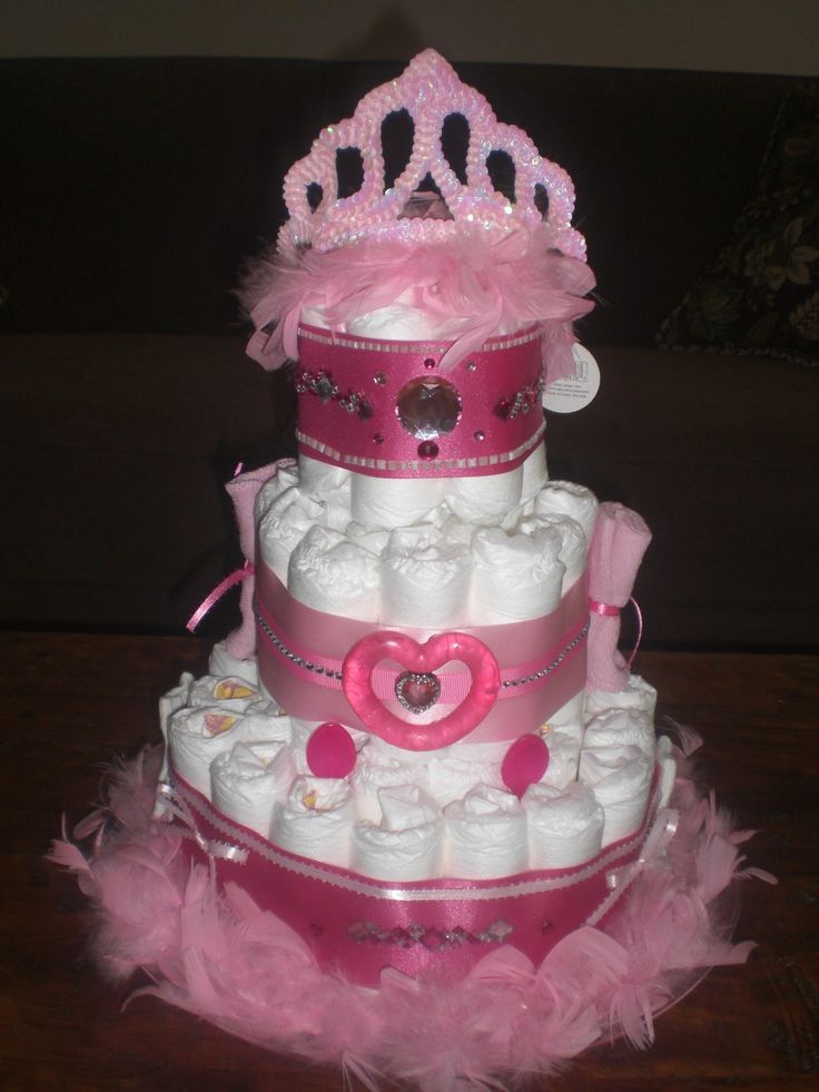 Bows And Bling Diaper Cake Girl Baby Shower Other Colors