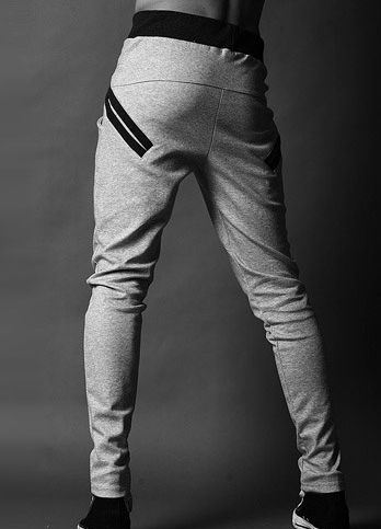 Hip Hop Style Lace-Up Cotton Blend Long Baggy Sweatpants For Men (LIGHT GRAY,M) | Sammydress.com