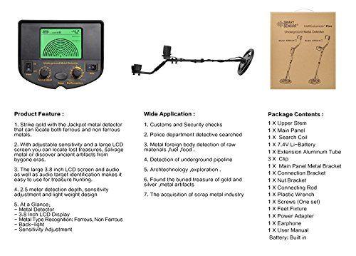 Amazon.com : Metal Detector Depth 1.5m Buzzer Professional AR924 LCD Display Wirel Detector Metal : Garden & Outdoor