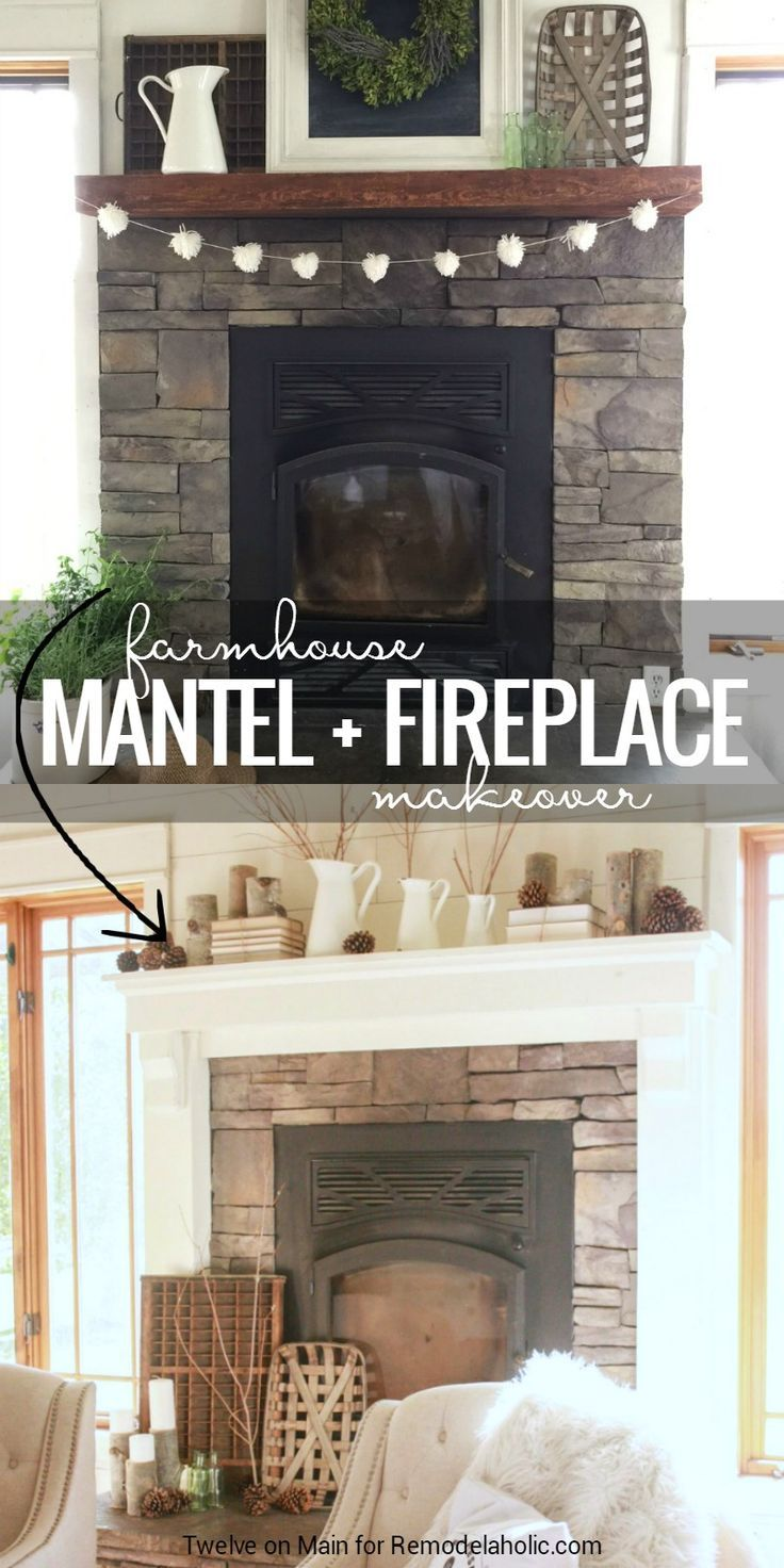 give a stone fireplace and wood mantel a farmhouse style makeover details from twelve on