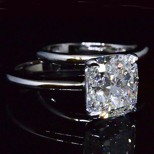 3.00 Ct. Cushion Cut Diamond Solitaire Engagement Ring Set Ring H, VS2 GIA - Recently Sold Engagement Rings
