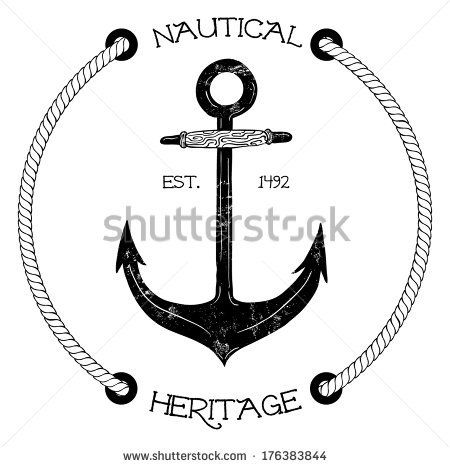 Vintage nautical badge with anchor by Nancy White, via Shutterstock