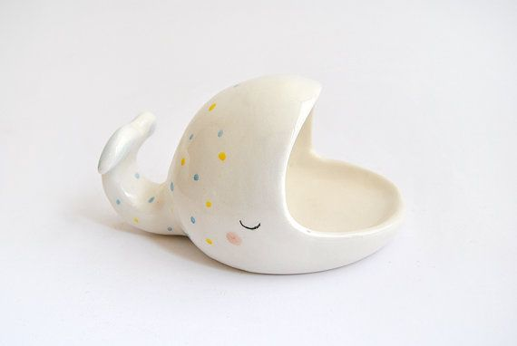 Ceramic Whale Scourer Holder or Whale Soap Dish or Whale Spoon Rest with Yellow and Blue Polka Dots. Ready To Ship