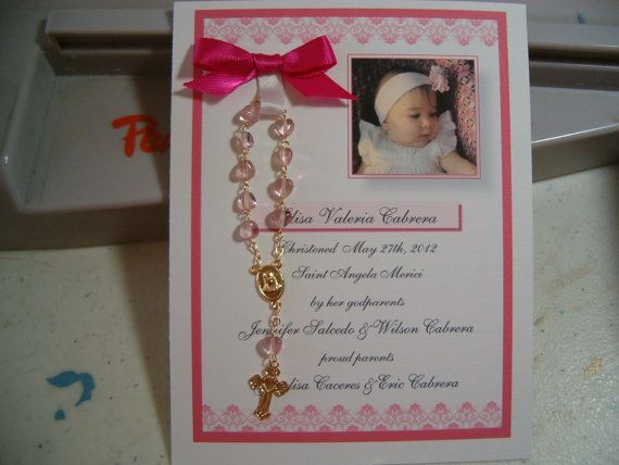 30 BAPTISM FAVORS rosary card for Moe by annthompson121 on Etsy