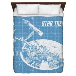 Star Trek Merchandise - Star Trek Enterprise Blueprint Queen Duvet Cover White