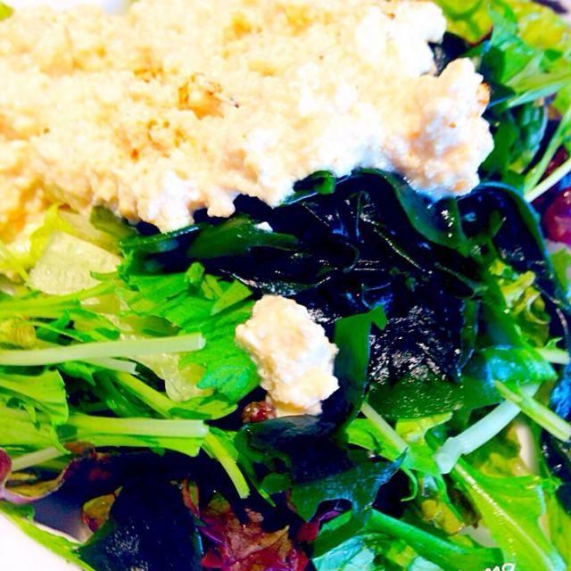 お豆腐、お味噌、お酢を混ぜただけで、かなり美味しくて昨日からのリピートです^o^ - 56件のもぐもぐ - 本のレシピ!豆腐マヨネーズでノンオイルサラダ! by Tina Tomoko