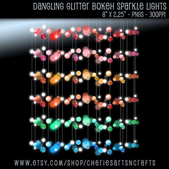 Dangling Glitter Bokeh Lights, Border Clip Art, Digital Borders, Dangling Lights, Digital Borders, Digital Clip Art, Clip Art, Scrapbooking