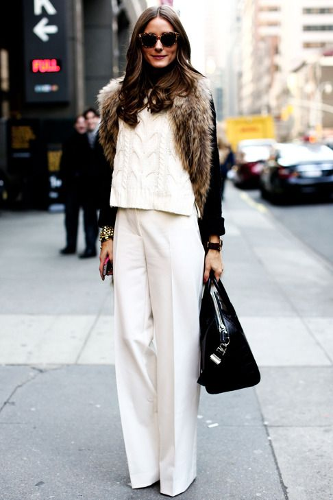 trousers, chunky sweater, polished accessories
