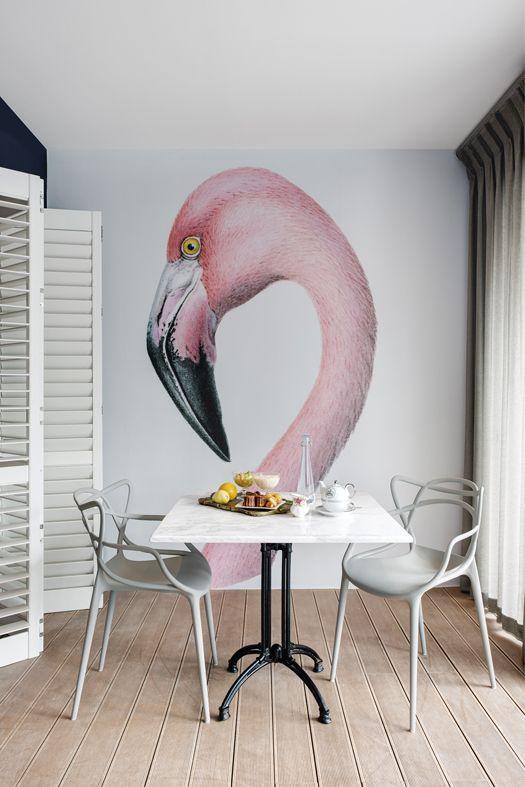 Houten vloer met flamingo muurbeschildering