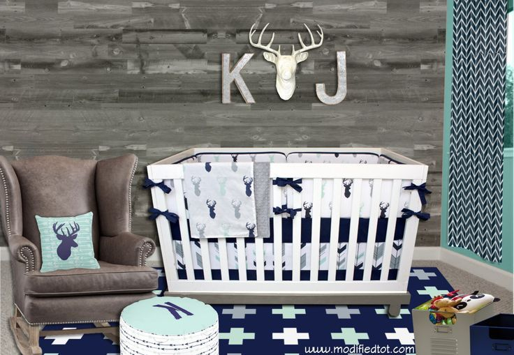 Mod Mint Forest (Modern Custom Crib Option) Baby Bedding, Crib Bedding, Navy Mint Gray Tribal Ferather Aztec Arrow Deer Moose Nursery by modifiedtot on Etsy https://www.etsy.com/listing/285704491/mod-mint-forest-modern-custom-crib