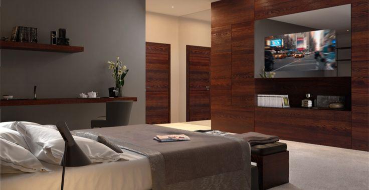 Porta tagliafuoco REI per hotel e boiserie moderna in legno nella camera da letto
