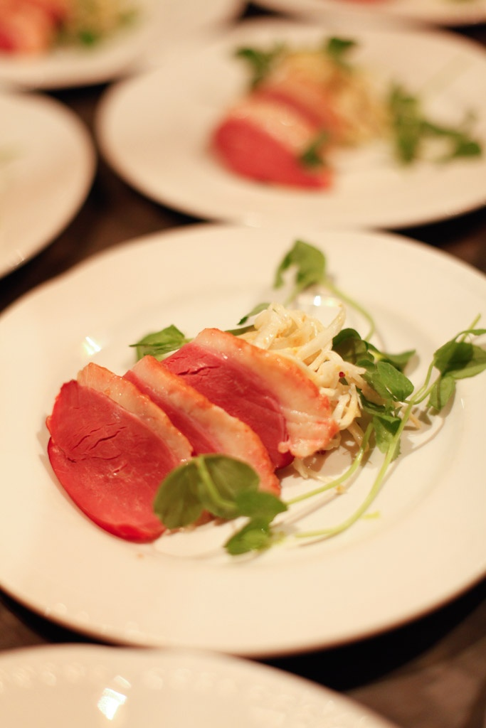 Smoked Duck Breast with Celeriac Remoulade & Pea Shoots