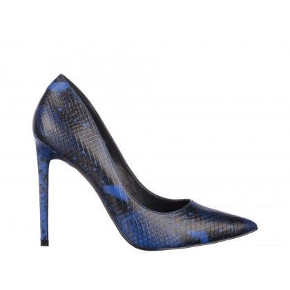 Pantofi Epica albastri, din piele naturala tip sarpe