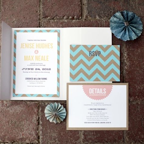Chevron Wedding invitations. Loves these colors!
