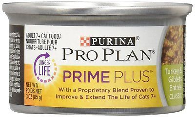 Purina Pro Plan Wet Cat Food, Prime Plus, Adult 7+ Turkey & Giblets Entree, Can,