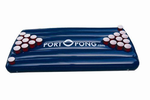PortOPong Inflatable Pool Game by |. $40.55. Your favorite party game is perfect for the pool, lake, camping, or anywhere you go! PortOPong is the portable beer pong phenomenon! Constructed of heavy duty vinyl, PortOPong has been designed for the most ideal beer pong play, its 6 feet long and 3 feet wide and includes 10 recessed cup holders and 1 rinse cup holder on each side. Get out your 20 oz party cups and a case or two of your favorite brew to get this beer p...