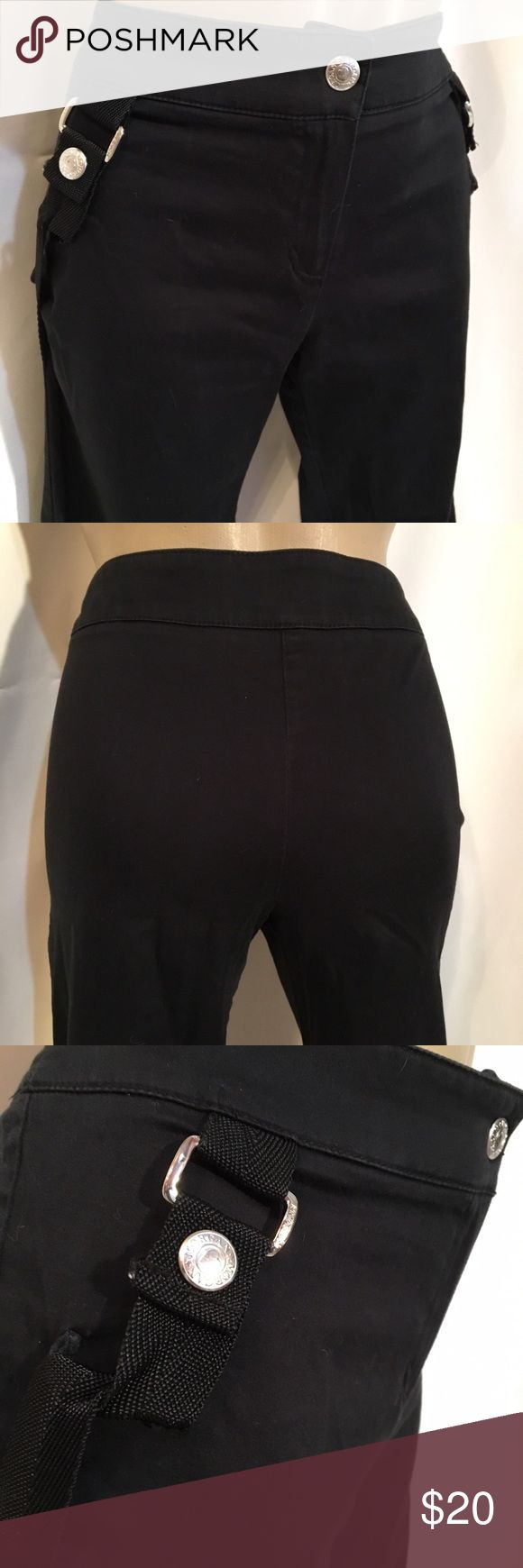 "Morgan De Toi Black Cargo Pants 6 VG pre owned: size and care tag removed.  Cotton/spandex blend.						Front zip & snap close. No pockets.			  31"" waist 										 40"" length 									 32"" inseam, 									 38"" hips Morgan De Toi Pants"