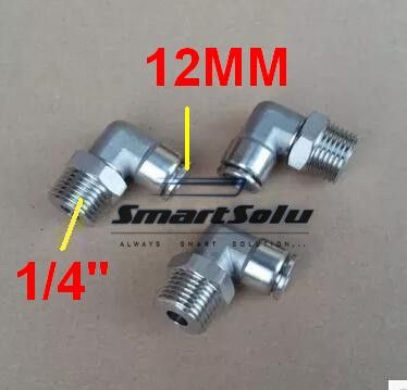 """Free shipping 10pcs/lot 12MM Tube Size 1/4"""" Thread stainless steel pipe elbow pneumatic fittings #Affiliate"""