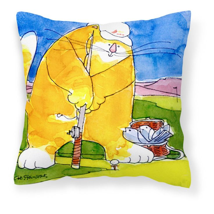Carolines Treasures Big Cat Golfing with a Fishing Pole Decorative Outdoor Pillow - 6105PW1414