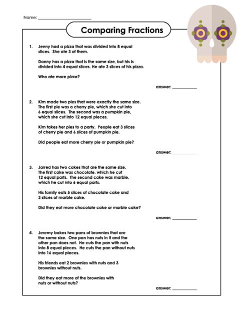 {Comparing Fractions Word Problems Scalien – Comparing Fractions Word Problems Worksheets