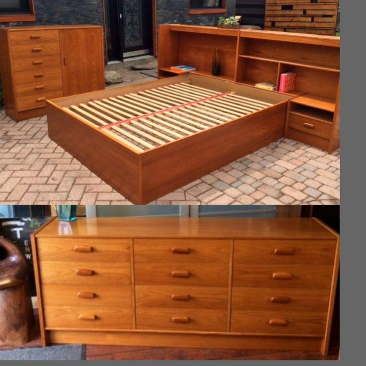 Best Teak Mcm Queen Bedroom Set Made In Sweden Restored Like 640 x 480