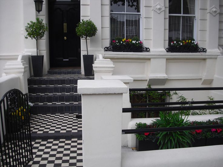 Victorian mosaic tiles, planters and window boxes