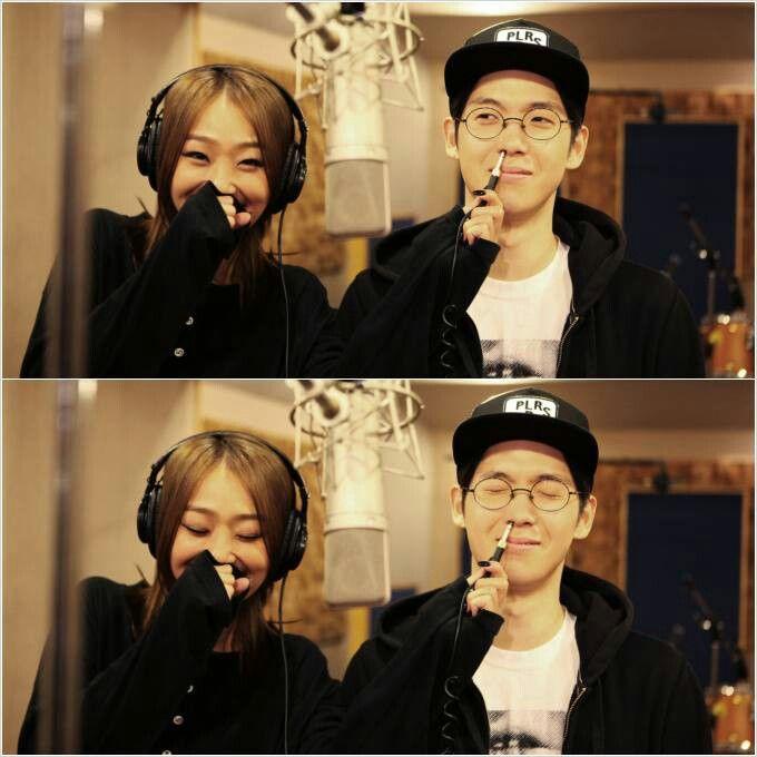 Hyorin in the studio w/ mad clown
