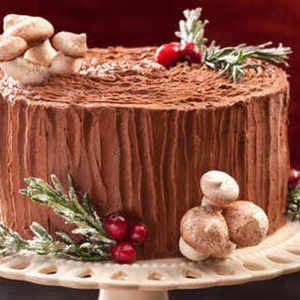 Black Forest Yule Stump Cake | Woodland baby shower ideas | Pinterest