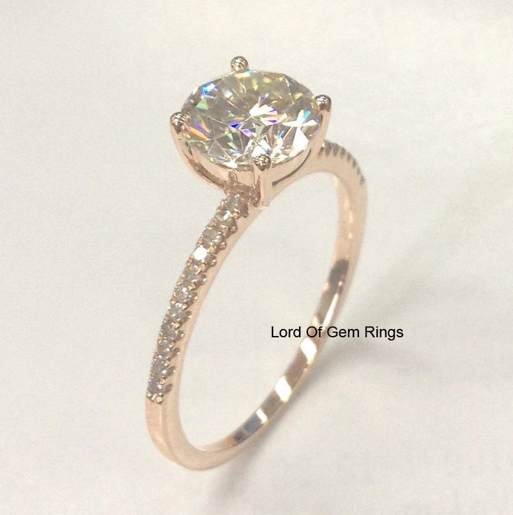 Round Forever Brilliant Moissanite Engagement Ring Pave Diamond Wedding 14K Rose Gold 6.5mm - Lord of Gem Rings - 1
