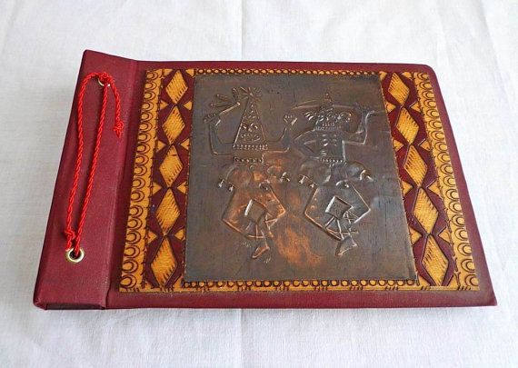 Vintage Photo Album Pokerwork Folk Art. Luxury by oldarticlesbg
