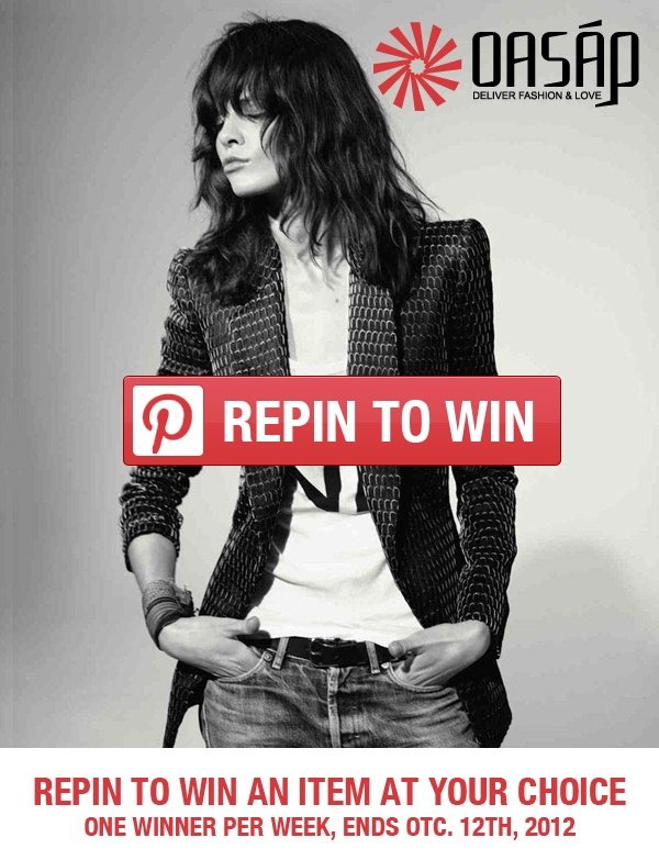 Follow @oasap http://pinterest.com/oasap/, repin and comment to win an item at your choice from http://www.oasap.com/content/81-ag-collection?s=rp2, ends Otc. 12th, one winner per week, winner will be announced Every Friday. Please check back often and contact us within 2 business days to claim your prize. Thanks.