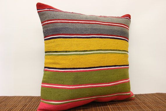 Vintage Colorful Kilim pillow cover 20 x 20 by kilimwarehouse