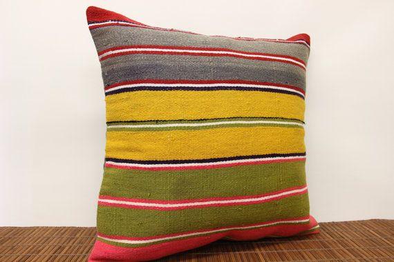 Vintage Colorful Kilim pillow cover 20 x 20 by kilimwarehouse