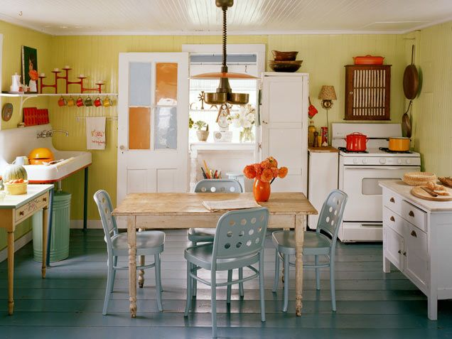 Kitchen Designs: Energized EatingOrange, Ideas, Kitchens Design, Vintage Kitchens, Blue, Painting Floors, Colors Kitchens, Country Kitchens, Farmhouse Kitchens