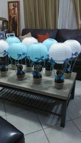 Globo aerostatico baby shower teddy bear centro de mesa