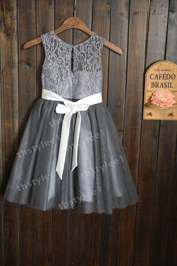 GRAY FLOWER GIRL DRESSES - Sanmaz Kones