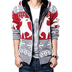 Dasior Men's Ugly Christmas Cardigan Sweater Winter Warm Coat Hooded XL Red