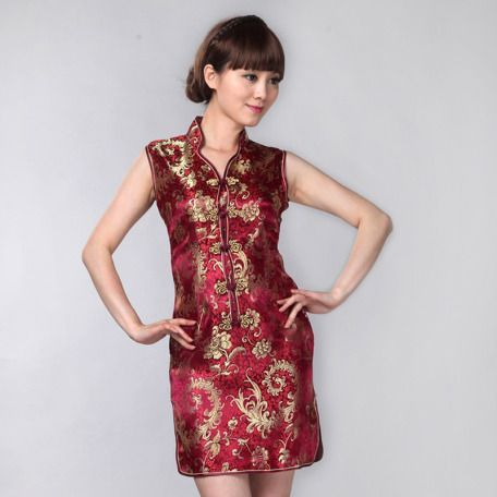 Golden Phoenix Tail Pattern Burgundy Red Brocade Stand Up V Neck Short Cheongsam Traditional Chinese Qipao Dress 00