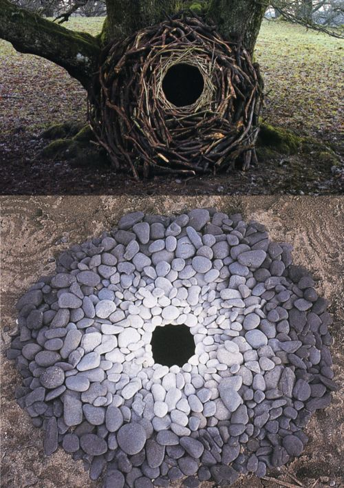 works in nature by Andy Goldsworthy. I love temporary works of art....really it's all temporary just working on differing schedules. Everything wants to return to it's basic components.