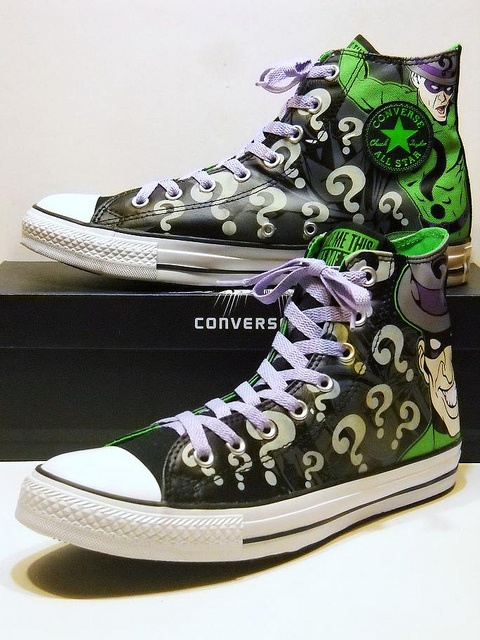 The Riddler™ Black, Grey & Green Hi Converse<--- I have these, the question marks glow in the dark :)
