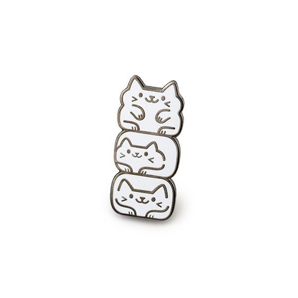 """A stack o' cats! Edition of 100 Each pin is sequentially numbered on the back Approx 1.3"""" tall x 0.6"""" wide Black nickel plated hard enamel lapel pin with twin p"""