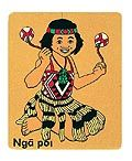 This 11 piece puzzle depicts a Maori wahine practicing poi.