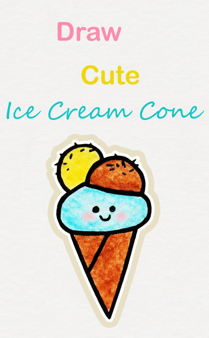 Learn How To Draw So Cute Ice Cream Cone Easy Step By Step Kawaii Tutorial Kawaii Drawing Tutorial Icec Cute Easy Drawings Cute Drawings Cute Doodle Art