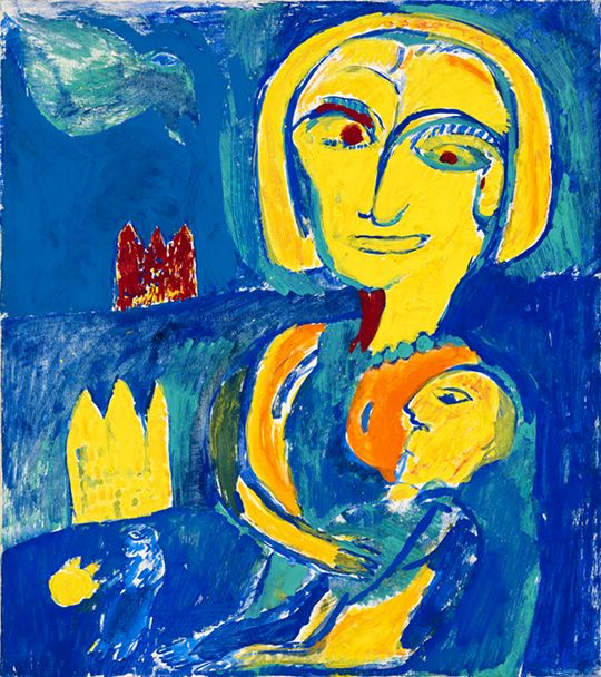 Carl-Henning Pedersen || Mother and Child || 1956 || Piant on canvas